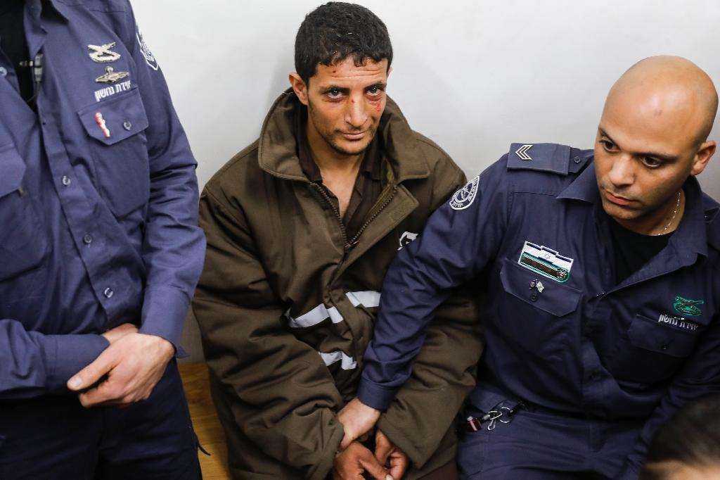 Palestinian Arafat Irfaiya who is suspected of murdering a young Israeli woman appears in a Jerusalem court on February 11, 2019