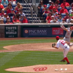 Scooter Gennett pulls an Adrian Beltre, hits a home run from one knee