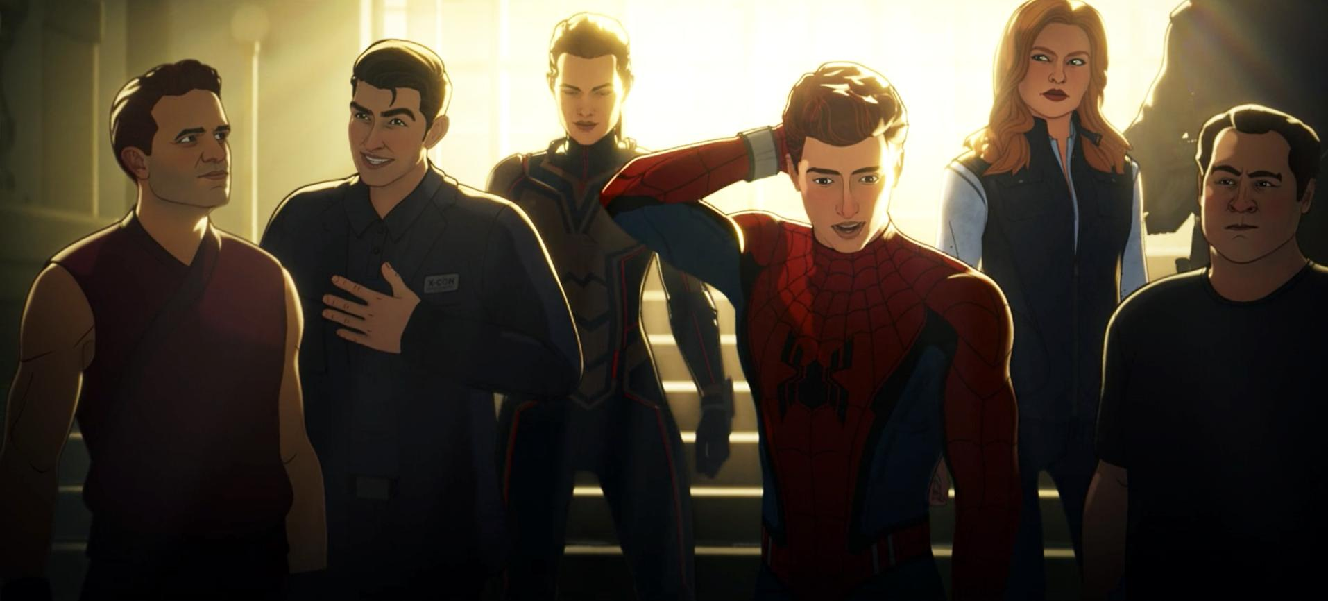 Bruce Banner, Kurt, Hope Pym, Peter Parker, Sharon Carter, Happy Hogan