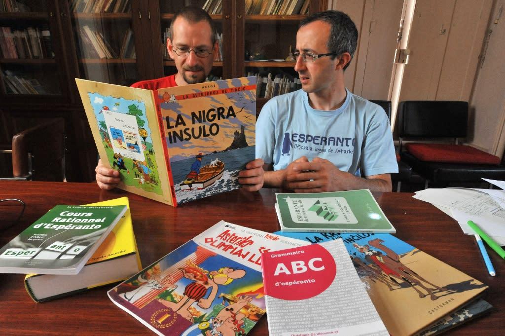 People study the Esperanto language in Saint-Martin-d'Arce, western France (AFP Photo/Frank Perry)