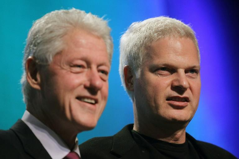 Film producer Steve Bing (R) was also a prominent real estate developer and political donor -- a long-time friend and supporter to Bill Clinton