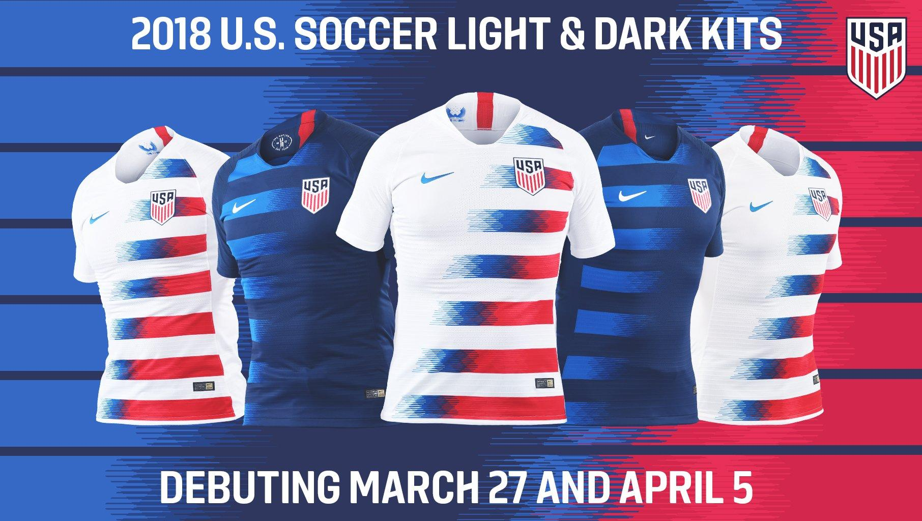 hot sale online d8f00 d8ba0 Look: New USMNT and USWNT kits for 2018
