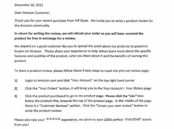 Company turns to bribery for 5 star Amazon reviews