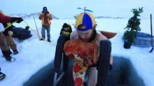 Australians Take a Dip in Sub-Zero Antarctic Waters to Celebrate Winter Solstice
