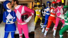 Fátima Bernardes e Túlio Gadêlha se disfarçam de Power Rangers em bloco de Carnaval