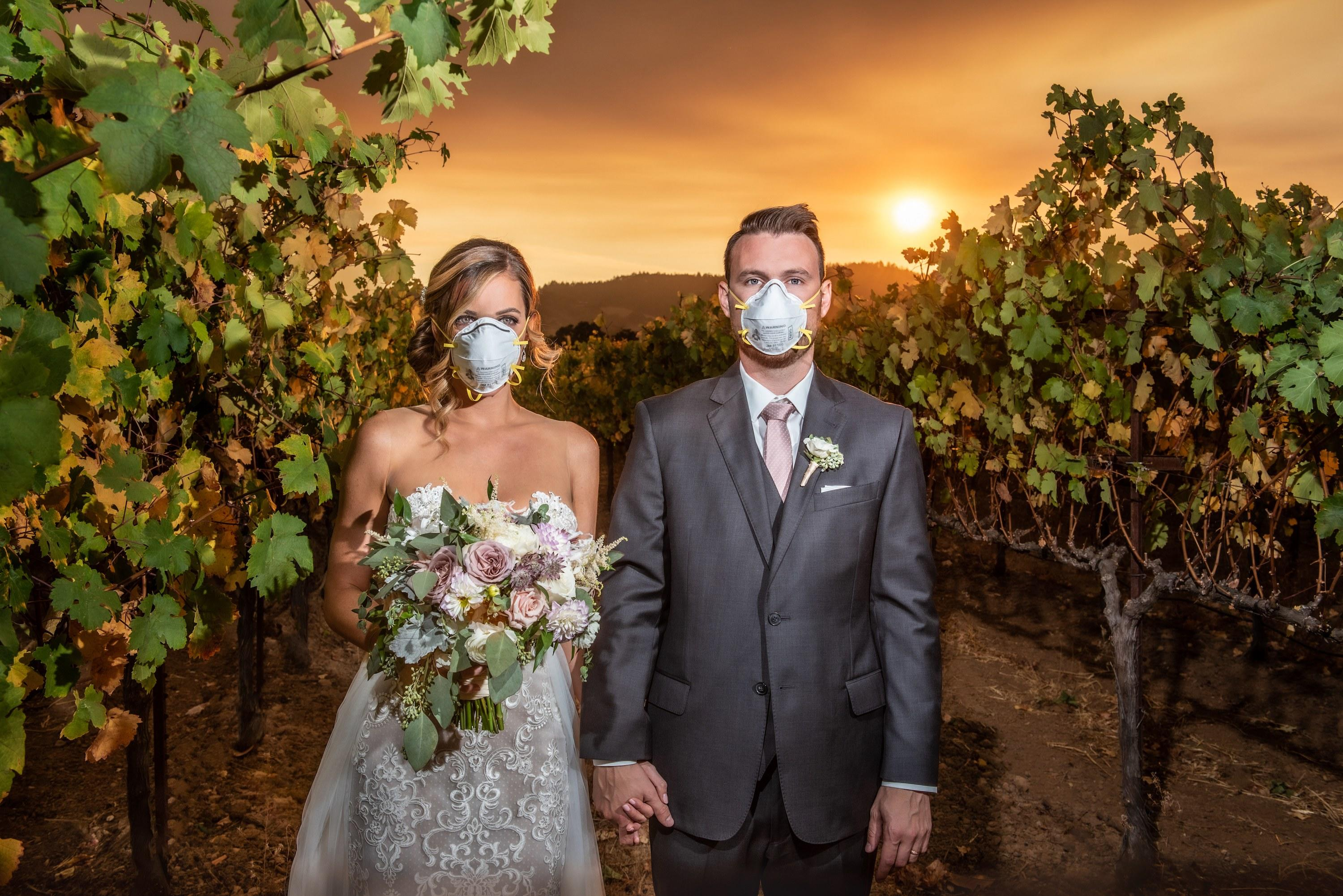 This Couple Wore Face Masks on Their Wedding Day Thanks to the Kinkade Fires