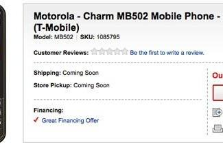 Motorola Charm pops up on Best Buy for $250, hopefully off contract