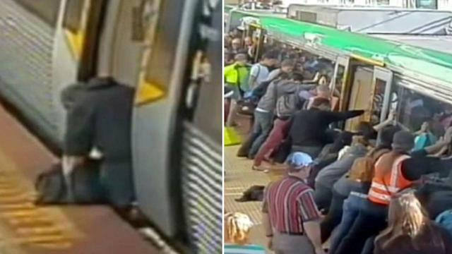 Australian commuter rescued by fellow train passengers