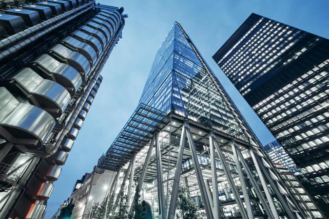 Modern office buildings in London, UK