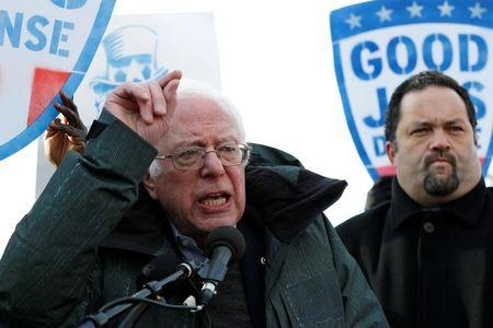 Senator Bernie Sanders (I-VT) speaks at a federal contract workers rally