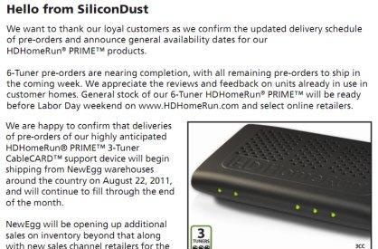 SiliconDust delivering HDHomeRun Prime preorders, 3 tuner ships next week
