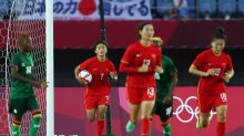 Olympics-Soccer-China's Wang scores four to deny Zambia in eight-goal thriller