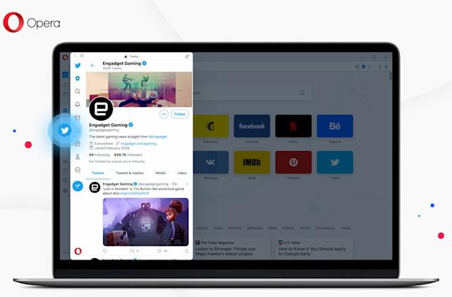 Opera has baked Twitter into its desktop browser