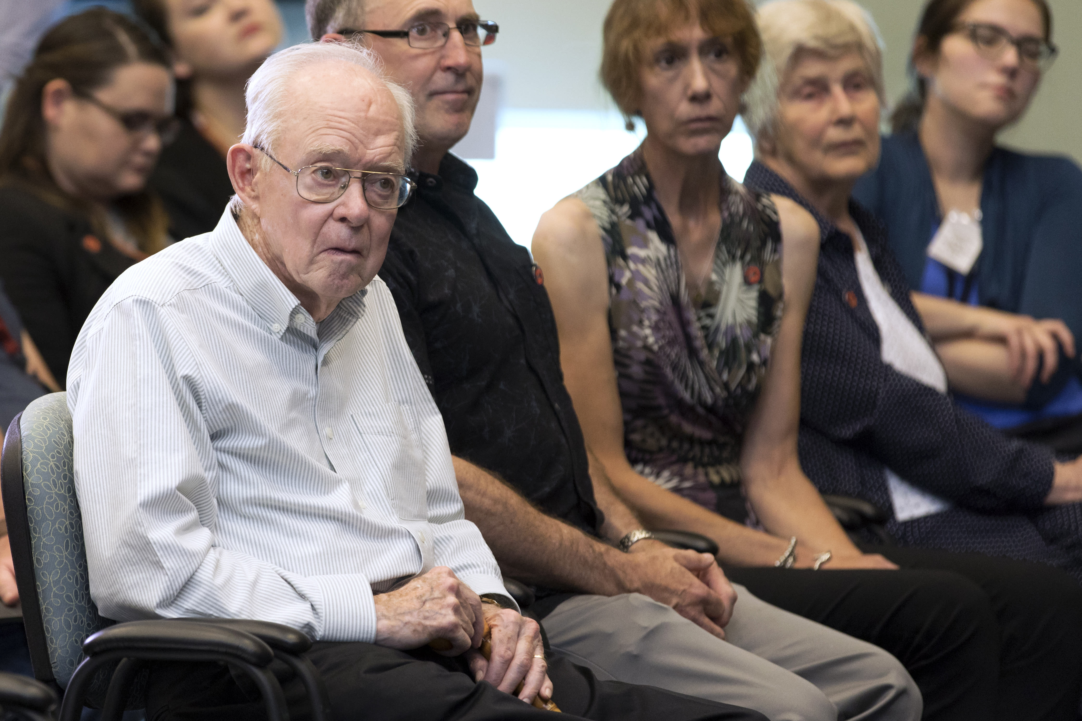 """In this Thursday, Aug. 9, 2018, astrophysicist Eugene Parker attends a news conference about the Parker Solar Probe named after him, at the Kennedy Space Center in Florida. Sixty years ago, the young astrophysicist proposed the existence of solar wind. Many were skeptical and told him to read up on it first """"so you don't make these killer mistakes,"""" he recalls. (Kim Shiflett/NASA via AP)"""