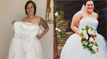 Bride celebrates losing half her body weight by trying on old wedding dress