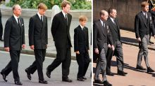 23 years after Diana's funeral, William and Harry walk apart behind Philip's coffin