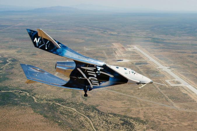 Virgin Galactic's SpaceshipTwo Unity flying near Spaceport America