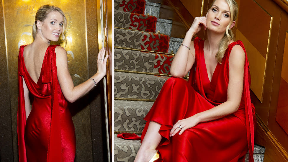 Princess Diana's niece stuns in red gown, flashes engagement ring