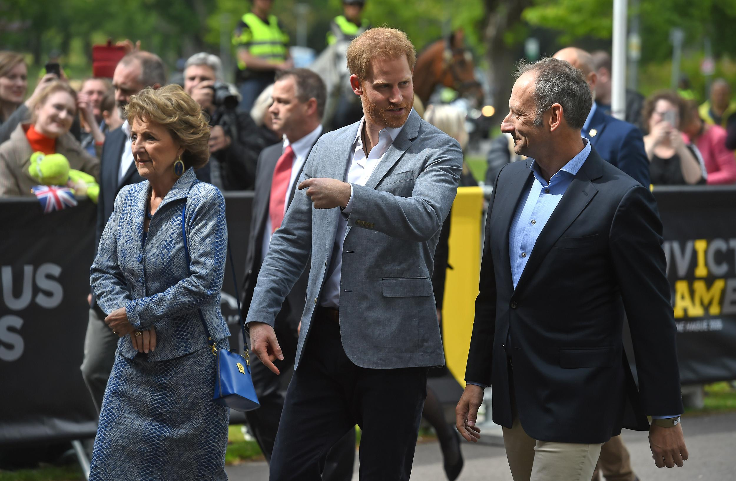 The Duke of Sussex (centre) arriving for one day visit to Amsterdam in the Netherlands. (Photo by Kirsty O'Connor/PA Images via Getty Images)