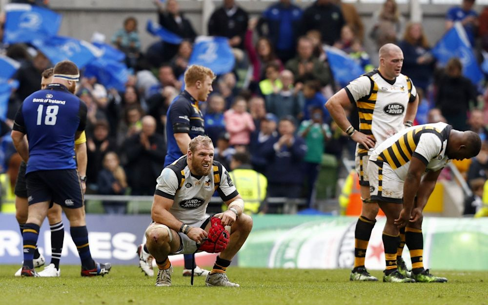 James Haskell drops to his knees after defeat - Rex Features