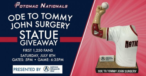 The Potomac Nationals have found a unique way to pay homage to Tommy John surgery. (Potomac Nationals)