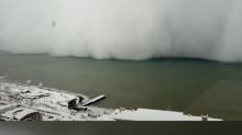 Stunning time-lapse shows giant snow storm engulfing the coast of Turkish town
