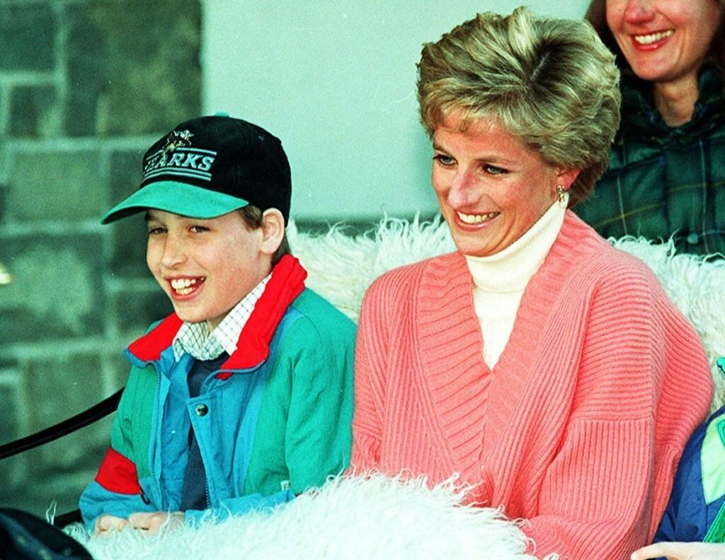 Princess Diana pictured with young William.