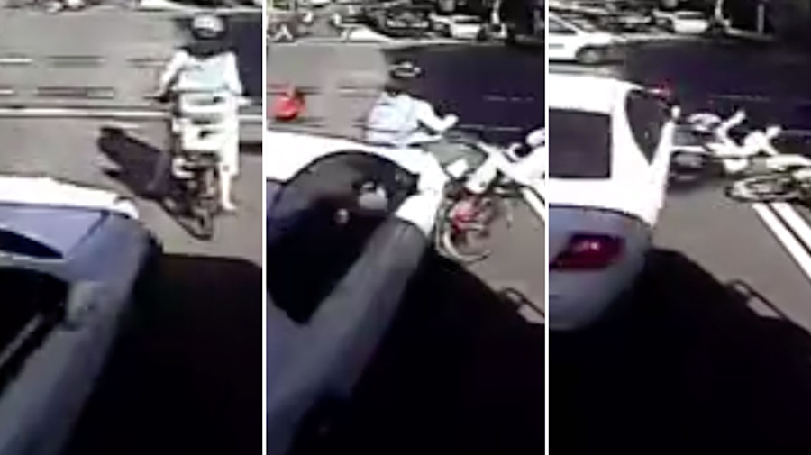 Shocking video shows heart-stopping moment cyclist is hit by car