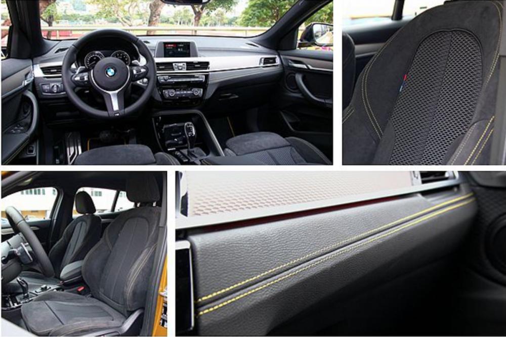 獨特的碳黑鋁質格紋飾板,及 Alcantara 麂皮/ Micro Hexagon 織布混搭跑車座椅,是 BMW X2 sDrive20i M Sport X 才有的配備。