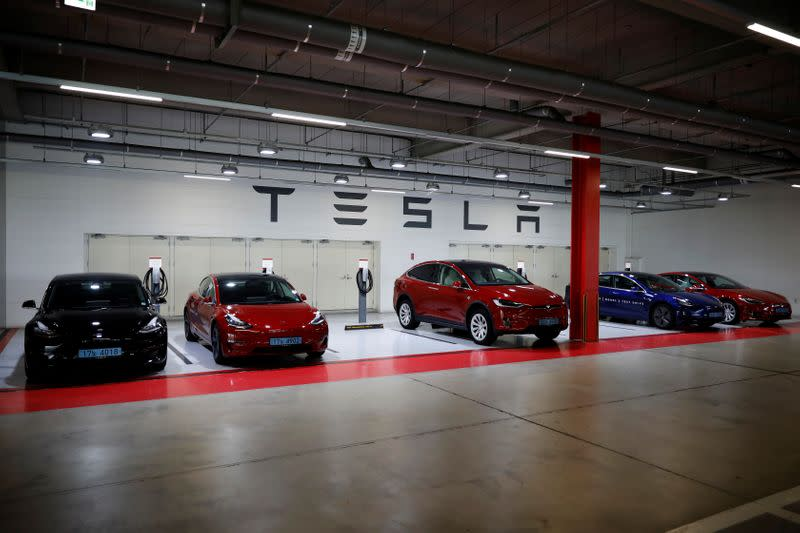 Tesla electric vehicles for test driving are parked in Hanam