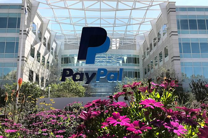 SAN JOSE, CA - APRIL 09:  A sign is posted outside of the PayPal headquarters on April 9, 2018 in San Jose, California. PayPal is looking to offer basic banking services including Federal Deposit Insurance Corp. insurance for customer balances, a debit card and direct-deposit.  (Photo by Justin Sullivan/Getty Images)