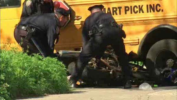 Children hurt after bus collides with motorcycle