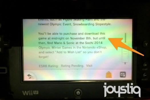 Wii U message lists Mario & Sonic at the Sochi 2014 Winter Games for November 8 on eShop