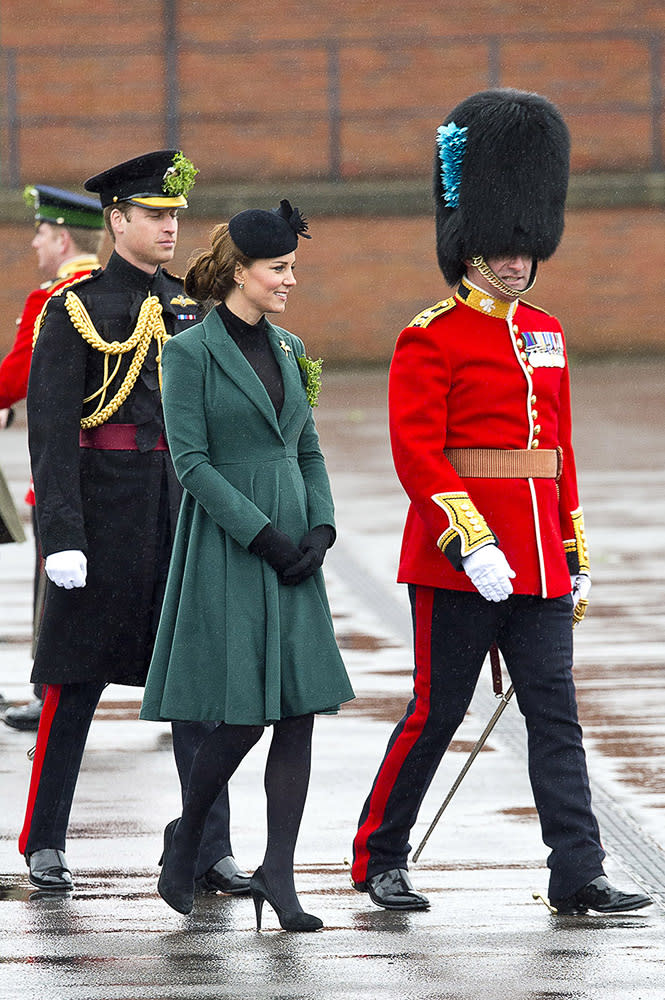 The Duchess of Cambridge attended the St Patrick's Day Parade at Mons Barracks in the same gorgeous green Emilia Wickstead coat of the previous year.