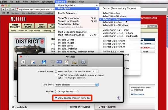 How to re-enable Netflix in Safari 5 (updated)