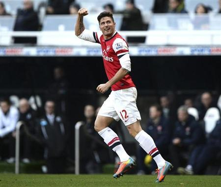 Arsenal's Giroud celebrates his goal against Newcastle United during their English Premier League soccer match in Newcastle