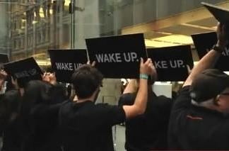 "RIM claims responsibility for ""Wake Up"" stunt at Apple Store"