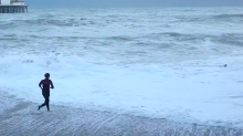 Barking mad: Woman risks her life running into freezing cold sea to rescue her dog