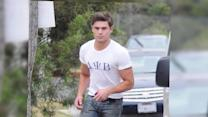 Zac Efron Rocks a Frat Tat on New Movie Set