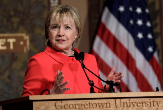 Hillary Clinton at Georgetown University on March 31, 2017.