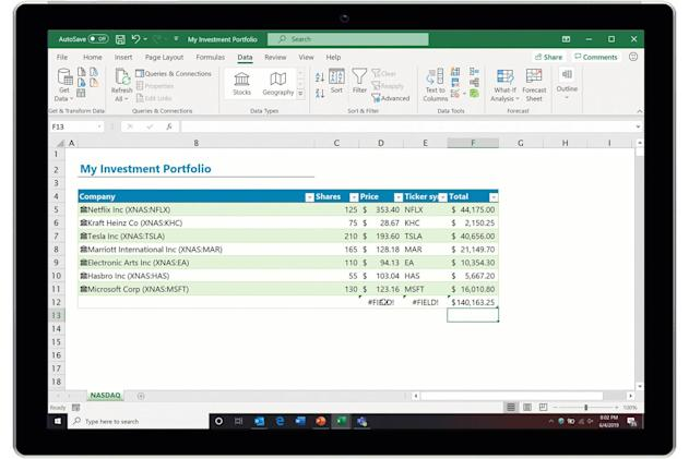 Microsoft Excel can provide real-time stock data