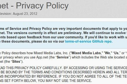 App.Net posts terms of service, asks for feedback