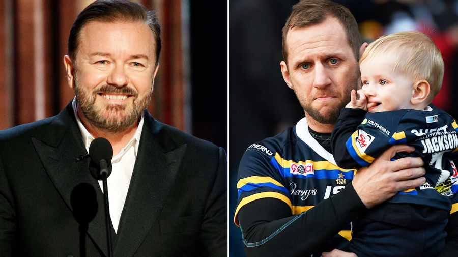 'F***ing busy': Ricky Gervais' brutal message to sick footy star
