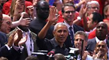 Leather jacket-clad Obama hangs with Drake, gets standing ovation at NBA Finals