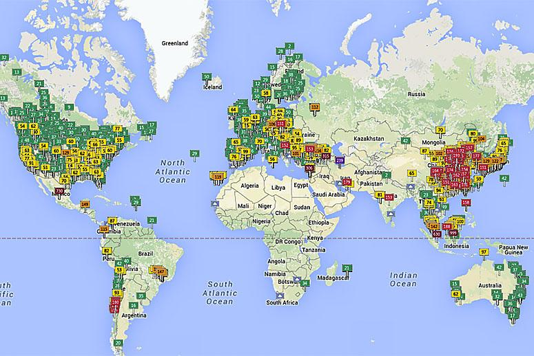 interactive map lets you see the air quality for 1000 places around the globe