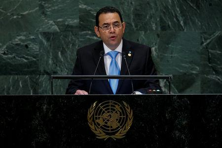 Guatemalan President Morales addresses the United Nations General Assembly in New York