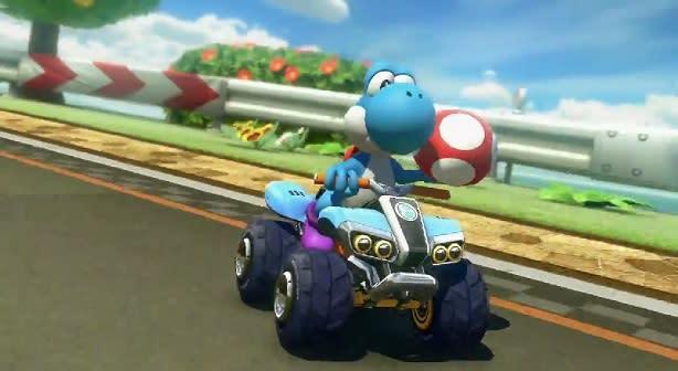 Race around Yoshi's Circuit in Mario Kart 8 DLC video