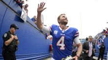 Bills kicker Stephen Hauschka attempts to stop returner with slide tackle