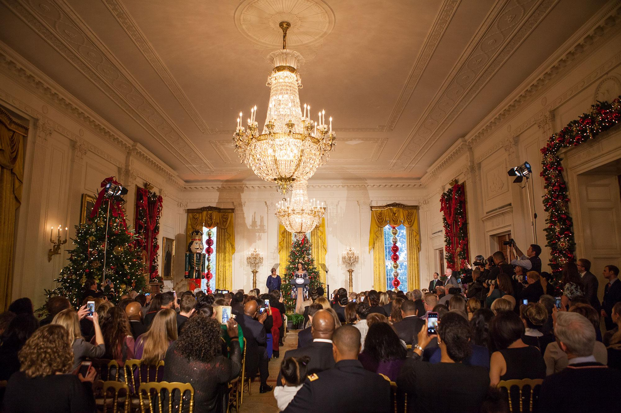 <p>On Tuesday, Nov. 29, in the East Room of The White House, As part of the Joining Forces initiative, First Lady Michelle Obama welcomed military families to the White House to view the 2016 holiday decorations. (Photo: Cheriss May/NurPhoto via Getty Images) </p>