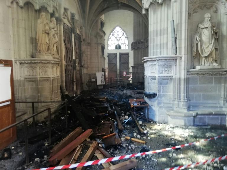 Artefacts and paintings were lost in the fire, as well as the 17th century organ -- a star attraction of the cathedral (AFP Photo/Fanny ANDRE)
